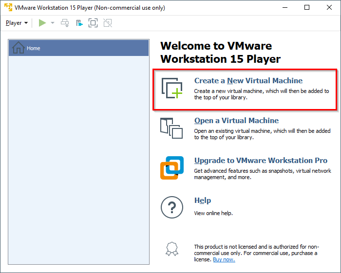 VMware Workstation 14 Player - Create a new virtual machine