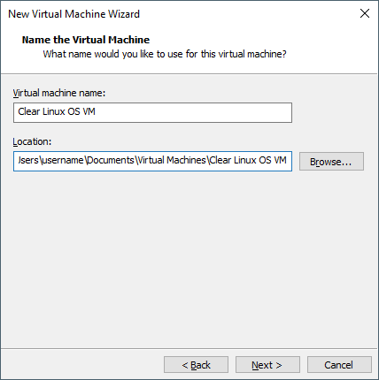 VMware Workstation 14 Player - Name virtual machine