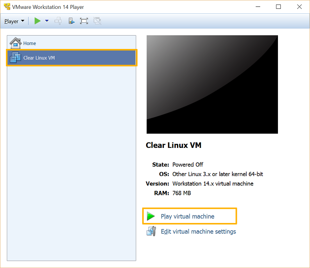 VMware Workstation 14 Player - Power on virtual machine