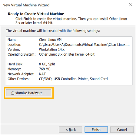 Run pre-configured Clear Linux image as a VMware