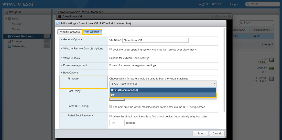 Install Clear Linux as a VMware* ESXi guest OS | Clear Linux
