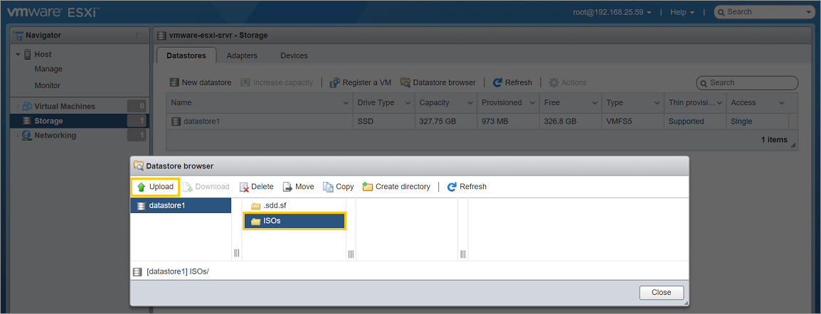 esxi download button not working