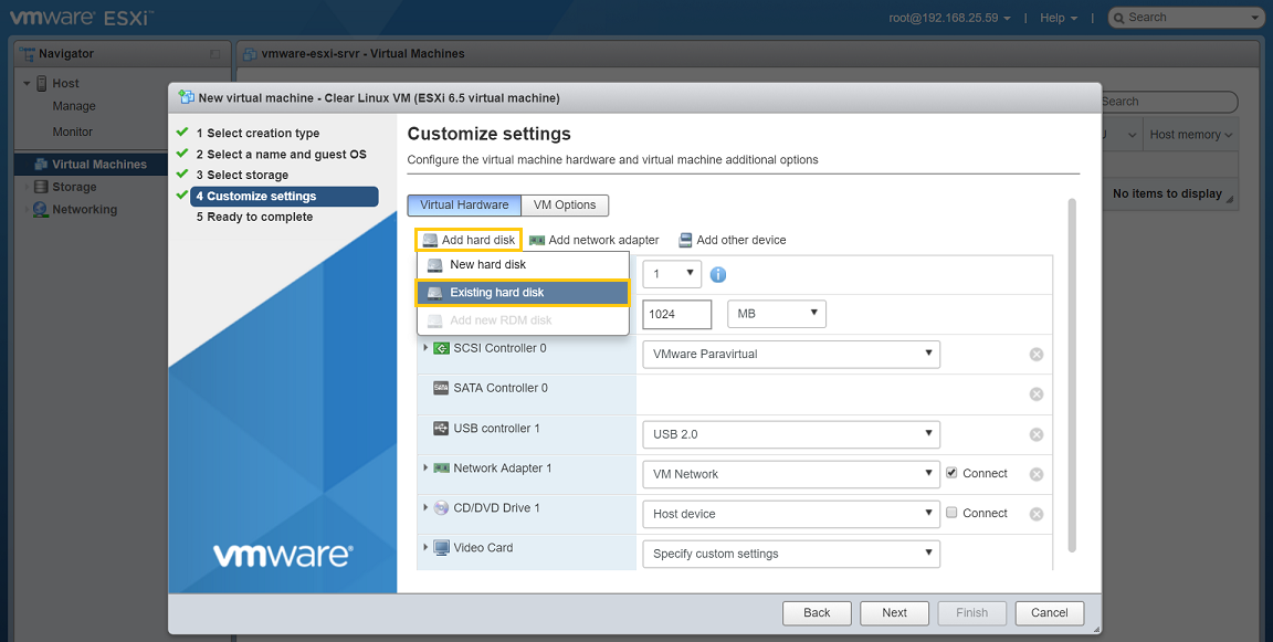 VMware ESXi - Add an existing hard drive