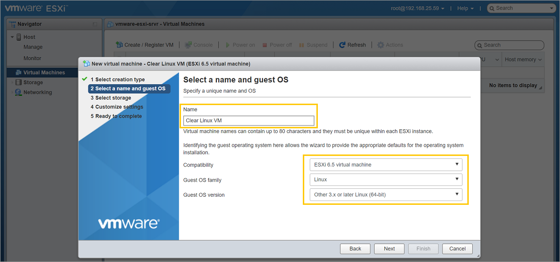 VMware ESXi - Give a name and select guest OS type